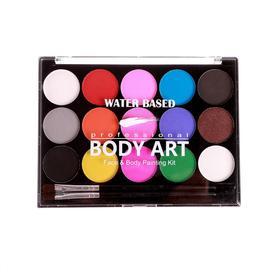Аква - грим профессиональный для лица и тела 15 цветов по 1,5 гр + кисточка