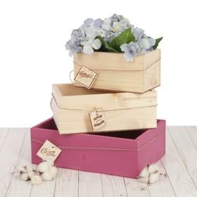 Набор деревянных ящиков 3 в 1 с шильдиком «Счастья и теплоты», 30 см × 21 см × 12 см
