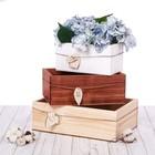Набор деревянных ящиков 3 в 1 с шильдиком «Дари улыбки»
