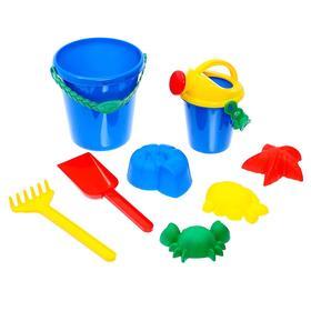 Набор для игры в песке №109 (2 формочки, ведро, грабли, лейка)