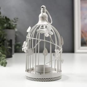 """Подсвечник металл на 1 свечу """"Клетка с бабочками и цветами"""" 17х8,5х8,5 см"""