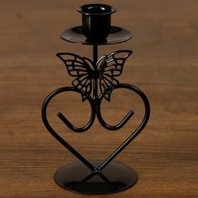 "Подсвечник металл на 1 свечу ""Бабочка и сердце"" чёрная 16х9х7,5 см"