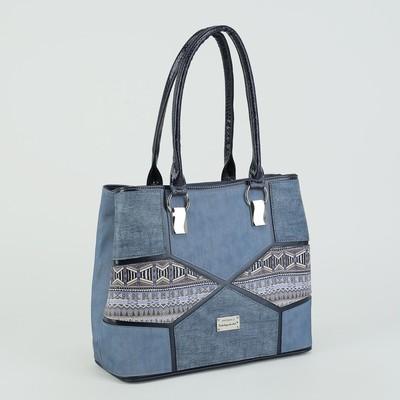 Сумка жен 726, 33*15*28, 2 отдела на молниях, н/карман, джинса синяя