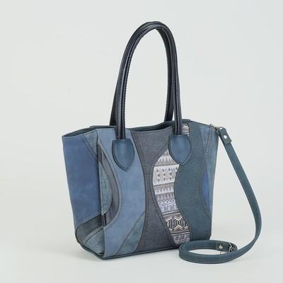 Сумка жен 877, 36*10*26, 1 отд на молнии, н/карман, длинн ремень, джинса синяя