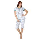 Пижама женская (футболка, бриджи) Светлана цвет белый, принт МИКС, р-р 60