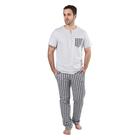 "Пижама мужская (футболка, брюки) ""Я для тебя"" цвет серый/тёмно-синяя клетка, р-р 48"