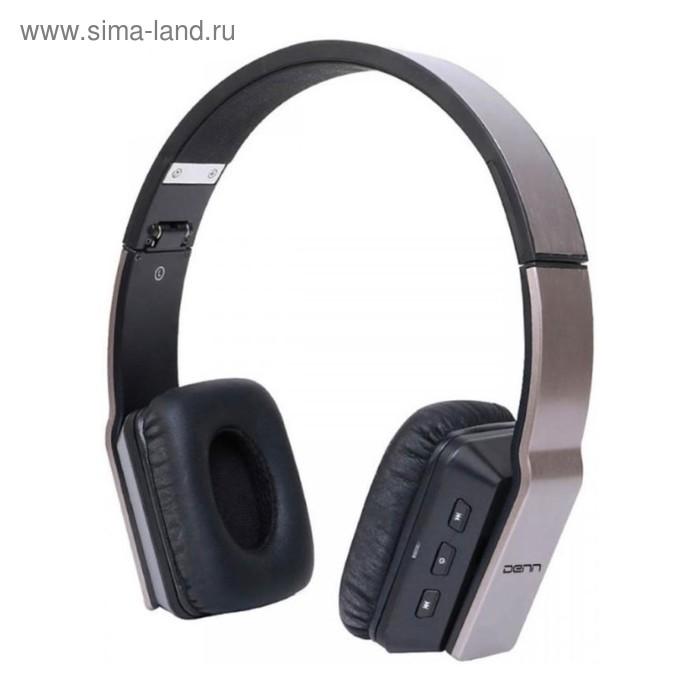 Гарнитура Denn DHB301 Bt, Bluetooth, накладная, черно-коричневая