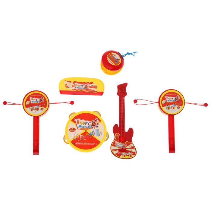 """Набор музыкальных инструментов """"Весёлые звуки"""", 6 предметов: бубен, гитара, губная гармошка, кастаньета, 2 стучалки"""