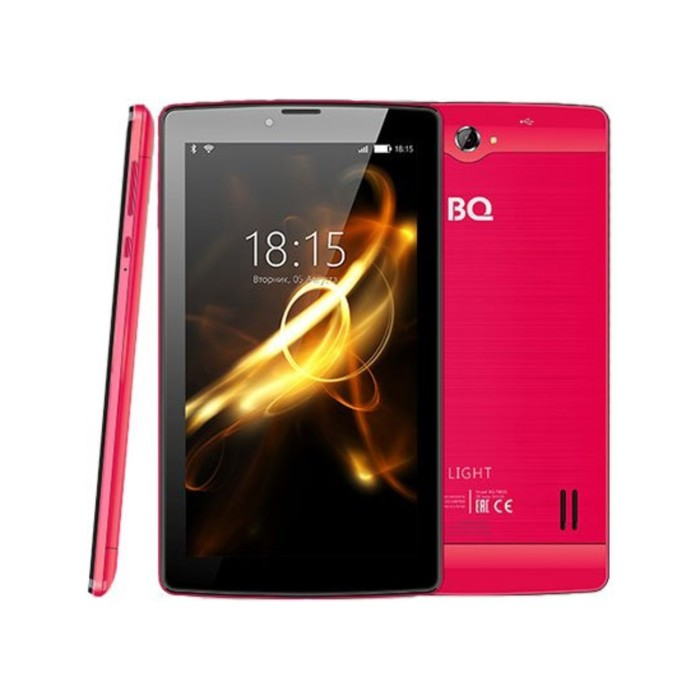 "Планшет BQ  7083G Light Red 7"", 1024х600, TN, 4*1.0Ghz, 1+8Гб, GPS, 7.0, розовый"
