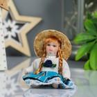"""Кукла коллекционная керамика """"Малышка в соломенной шляпке"""" 9 см МИКС"""