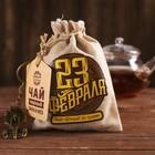 """Набор чай чёрный с мятой в холщовом мешочке и брелок """"23 Февраля"""", 50 г"""