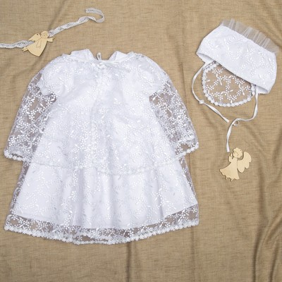 Набор крестильный для девочки (платье, чепчик, накидка), рост 80-86 см, цвет белый К8/1_М