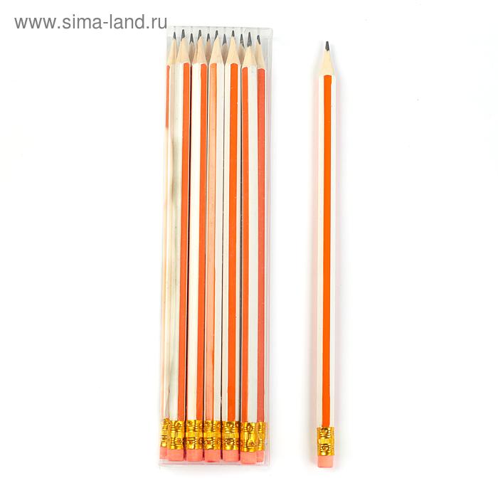 Карандаш ч/г с ластиком НВ корпус шестигранный Полоски белые с оранжевым