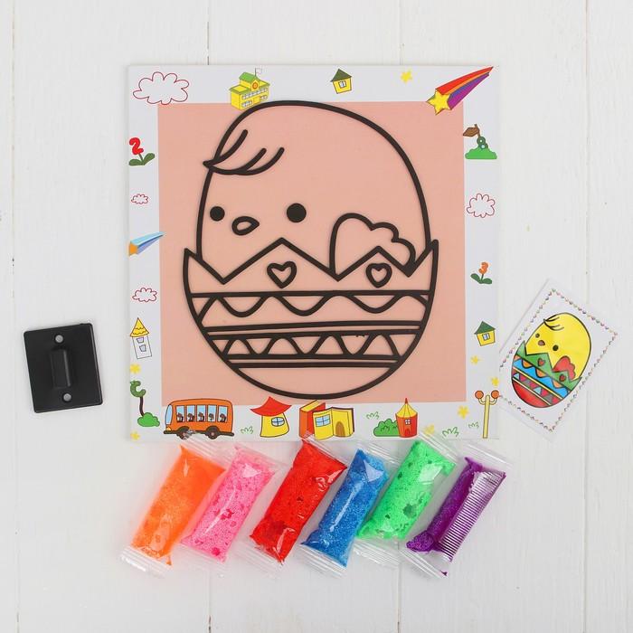 Аппликация шариковым пластилином с подставкой,6 цветов по3 гр.МИКС   основа19*19 см