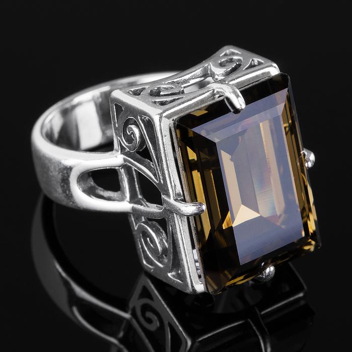 """Кольцо """"Эпатаж"""", размер 18, цвет серый в чернёном серебре"""