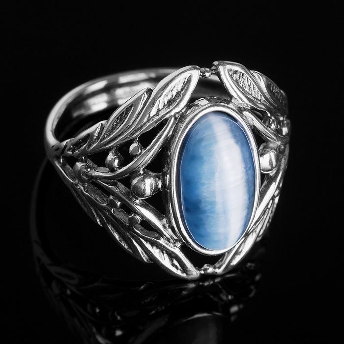 """Кольцо """"Калинка"""", размер 18, цвет белый в чернёном серебре"""