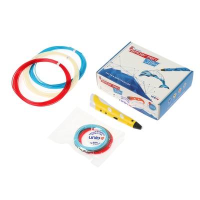 3D ручка SPIDER PEN Start, ABS и UNID Pro, желтая (трафарет + 6 цветов пластика)
