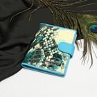 Обложка д/автодокументов, 9,5*0,5*13, 4кармана д/карт, с хлястиком, змея бирюзовый