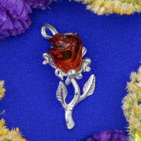 Подвеска посеребрение 'Янтарь' роза, цвет коричневый Ош