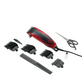 Машинка для стрижки волос Luazon модель LST-5, 4 уровня стрижки, 15 Вт, красный, 220 V Ош