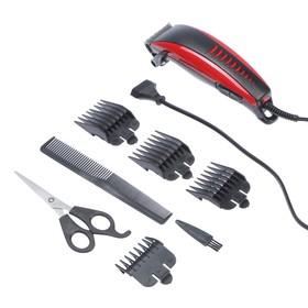 Машинка для стрижки волос Luazon модель LST-6, 4 уровня стрижки, 15 Вт, красный, 220 V Ош