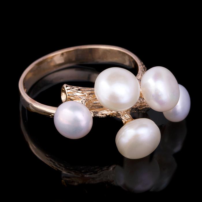 """Кольцо бижар """"Каприз"""", размер 19, жемчуг речной, цвет белый в золоте"""