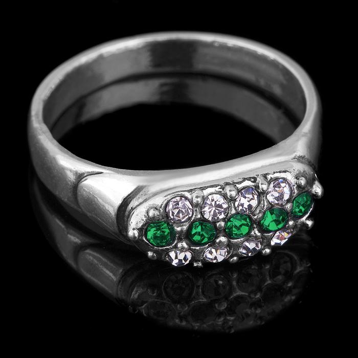 """Кольцо бижар """"Альянс большой"""", размер 17,5, цвет бело-зелёный в чернёном серебре"""