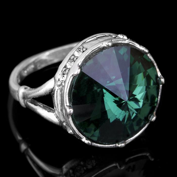 """Кольцо бижар """"Ямайка"""", размер 18, цвет зелёный в чернёном серебре"""