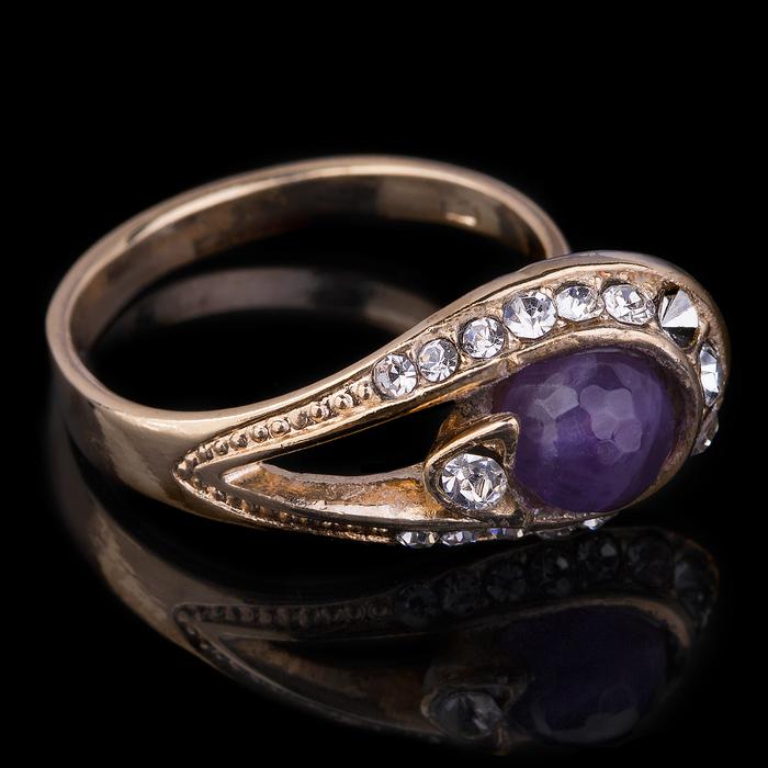 """Кольцо бижар """"Легенда"""", размер 18, аметист, цвет бело-фиолетовый в золоте"""