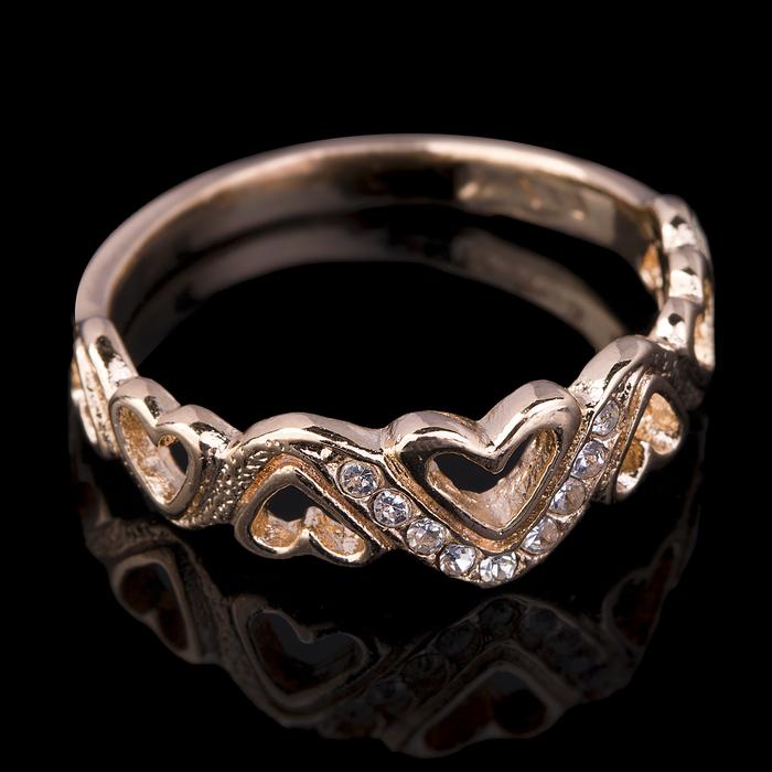 """Кольцо бижар """"Юнона"""", размер 17, цвет белый в золоте"""