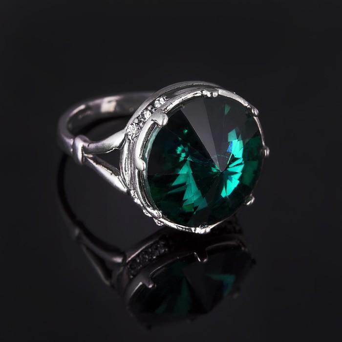 """Кольцо бижар """"Ямайка"""", размер 19, цвет зелёный в чернёном серебре"""