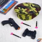 """Игровой набор оружия, с головным убором """"Юный пограничник"""" (пистолет, бинокль, берет, присоски 3 шт.)"""