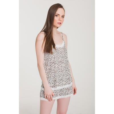 Пижама (майка, шорты) женская 253 цвет белый, принт леопард, р-р 44