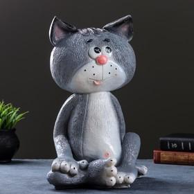 """Копилка """"Кот сидя""""(серый) большой 41см"""