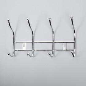 Вешалка на 4 двойных крючка 28,5х16х6,5 см серебро Ош