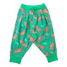 Брюки для девочки, рост 104 см, цвет зелёный набивка тигры 131-018-12