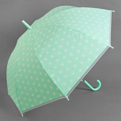 """Зонт-трость """"Ромашки"""", полуавтоматический, R=45см, цвет мятный"""