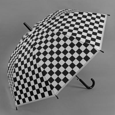 """Зонт-трость """"Квадраты"""", полуавтоматический, R=46см, цвет чёрный/белый"""