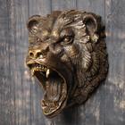 """Подвесной декор """"Голова медведя рычит"""" бронза, 50см"""