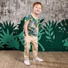 Футболка для мальчика, рост 104 см, цвет зелёный набивка джунгли 132-005-13