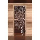 """Дверь для бани и сауны """"Берёзка"""" бронза, 6мм, УФ-печать, 190х70см, Добропаровъ"""