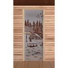 """Дверь для бани и сауны """"Банька в лесу"""", сатин, 6мм, УФ-печать, 190х70см. Добропаровъ"""