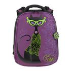 Рюкзак каркасный Hummingbird 39*28*20 для девочки «Кошка», сиреневый/чёрный 81Т