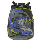 Рюкзак каркасный Hummingbird 39*28*20 для мальчика Street Hasing, чёрный/синий 84Т