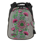 Рюкзак каркасный Hummingbird 39*28*20 для девочки «Цветы», серый/чёрный 89Т