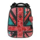 Рюкзак каркасный Hummingbird 39*28*20 для девочки «Цветы», чёрный/красный 94Т