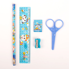 Набор канцелярский детский 5 предмета (карандаш+ластик+точилка+ножницы+линейка) МИКС