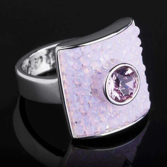 """Кольцо """"Майлон"""", размер 18, цвет розовый в серебре"""