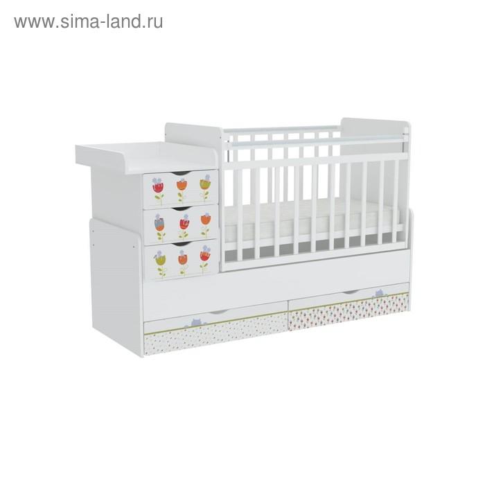 Детская кровать-трансформер «Фея 1150», цвет белый «Сонные котята»