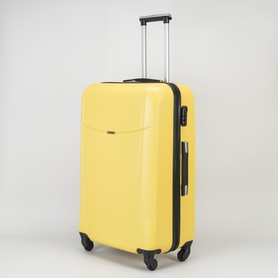 Чемодан большой на молнии, 1 отдел, 4 колеса, кодовый замок, цвет жёлтый